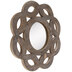 Brown Round Scalloped Wood Wall Mirror
