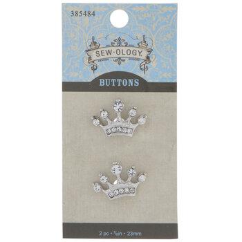 Crown Rhinestone Shank Buttons - 23mm