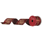 Red & Gold Holly Wired Edge Ribbon - 2 1/2""