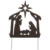 Rustic Nativity Scene Metal Garden Stake