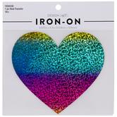 Holographic Rainbow Heart Iron-On Applique