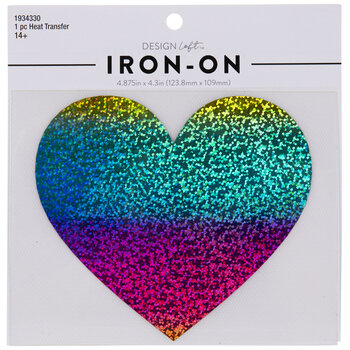 Holographic Rainbow Heart Iron-On Applique