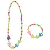Flower Beaded Bracelet & Necklace