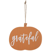 Grateful Pumpkin Wood Ornament