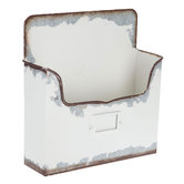 Distressed White Metal Wall Container