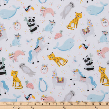 Pastel Animals & Flowers Flannel Fabric