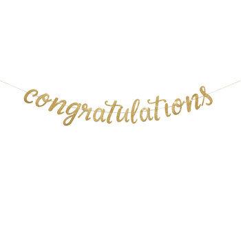 Gold Glitter Congratulations Banner