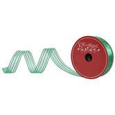 "Green Glitter Striped Wired Edge Sheer Ribbon -  1 1/2"""
