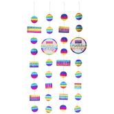 Rainbow Foil Happy Birthday Hanging Decorations