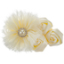 Ivory Frayed & Rosette Flower Embellishment