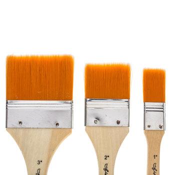 Brown Nylon All Purpose Flat Paint Brushes - 3 Piece Set