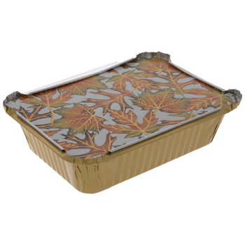 Orange & Green Leaves Aluminum Pans With Covers