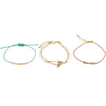 Beaded Charm Bracelet Trio