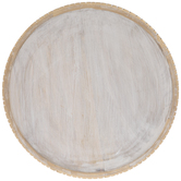 Whitewash & Gold Round Wood Platter