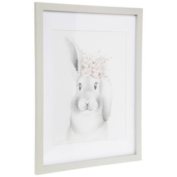 Floral Crown Bunny Framed Wall Decor