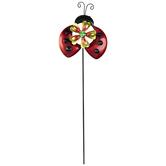 Ladybug & Flower Metal Garden Pick