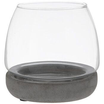 Glass Terrarium With Cement Base