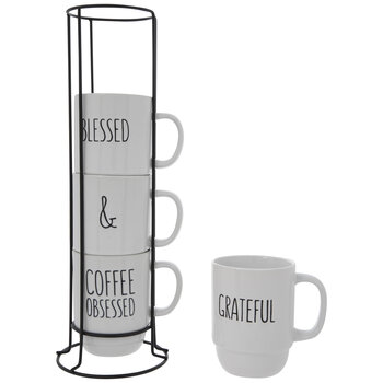 Grateful, Blessed & Coffee Obsessed Stacked Mugs