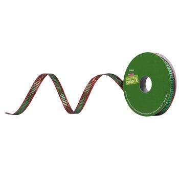 """Metallic Red & Green Ribbon - 3/8"""""""