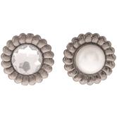 Antique Silver Pearl & Rhinestone Brads