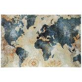 Blue & Gold World Map Canvas Wall Decor