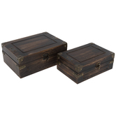 Brown Distressed Wood Box Set