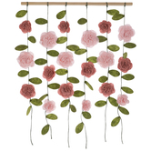 Pink Hanging Flowers Wood Wall Decor