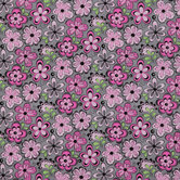 Pink & Gray Madison Floral Cotton Calico Fabric