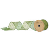 "Lime Glitter Mesh Wired Edge Ribbon - 2 1/2"""