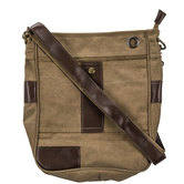 Dark Beige Heavy Canvas Crossbody Bag