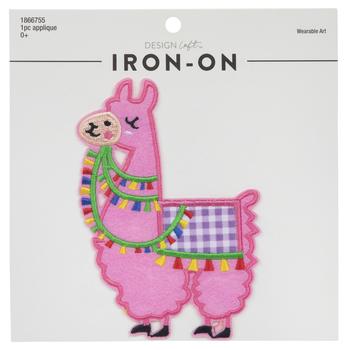 Pink Llama Iron-On Applique