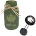 Green Autumn Glass Jar Candle Holder