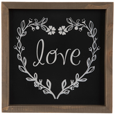 Floral Wreath Love Wood Wall Decor