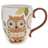 Orange & Green Owl Textured Mug