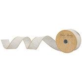 "Cream & Gold Beaded Wired Edge Ribbon - 1 1/2"""