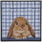 Blue & White Plaid Bunny Wood Wall Decor