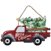 Merry Christmas Red Truck Wood Wreath Embellishment