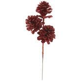Red Glitter Pinecone Pick