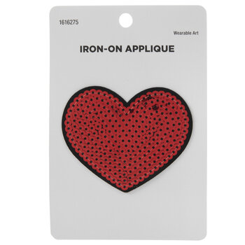 Red Heart Sequin Iron-On Applique