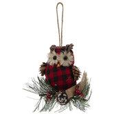 Red & Black Buffalo Check Owl Ornaments