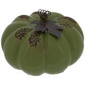 Distressed Pumpkin With Metal Leaf