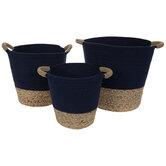 Navy & Brown Oval Basket Set