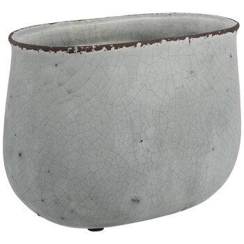 Gray Oval Flower Pot