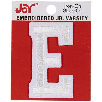 """White Junior Varsity Letter Iron-On Applique E - 2"""""""