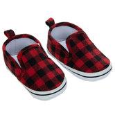 Red & Black Buffalo Check Crib Shoes