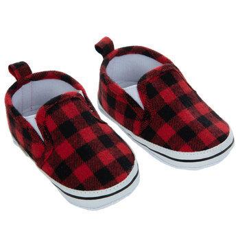 Red & Black Buffalo Check Crib Shoes - 6-9 Months