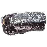 Black & Silver Sequin Pencil Pouch