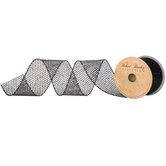 "Black Glitter Wired Edge Ribbon - 2 1/2"""