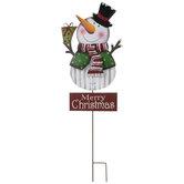 Merry Christmas Snowman Metal Garden Stake