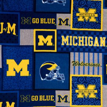 Michigan Block Collegiate Fleece Fabric